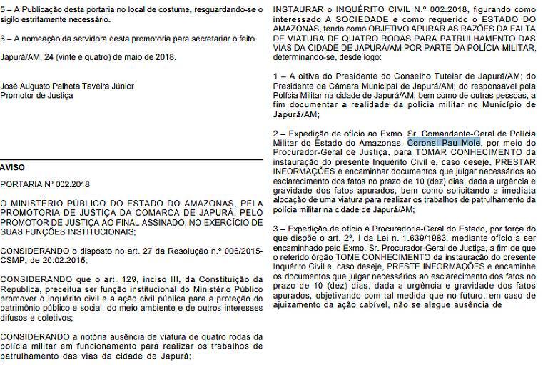 Trecho do Diário Oficial do Ministério Público do Amazonas que chama coronel da PM de 'pau mole'
