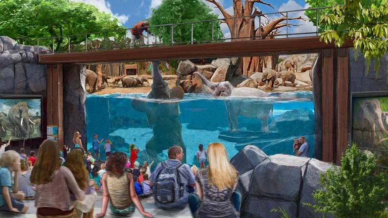 Arte da área do RioZoo conhecida como biosfera dos elefantes. Há, no fundo da imagem, uma área cercada com um painel de vidro na frente parcialmente submerso que mostra um elefante nadando e outros ao fundo, em terra. Na frente do painel, pessoas sentadas vendo a cena