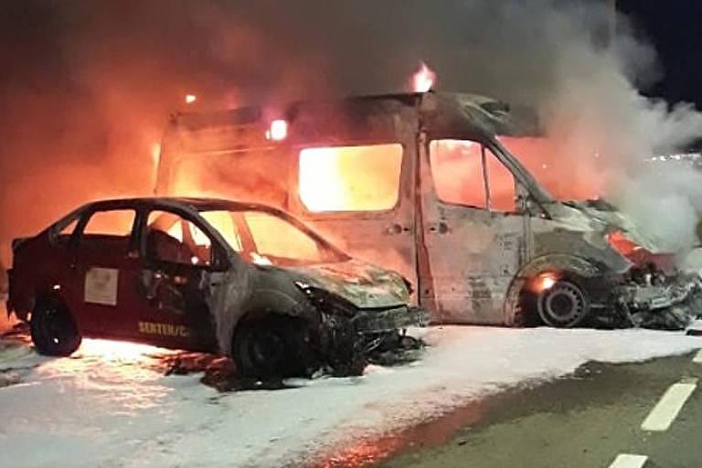 Dois veículos da base do Corpo de Bombeiros de Mossoró (RN) são incendiados