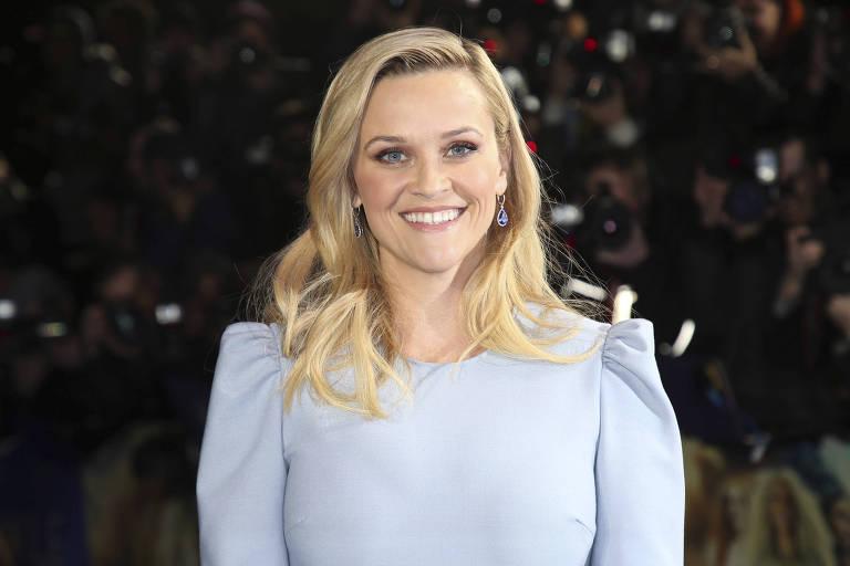 """A atriz Reese Witherspoon no lançamento de """"Uma Dobra no Tempo"""", em Março de 2018, em Londres"""