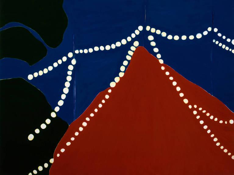 pintura em azul e vermelho
