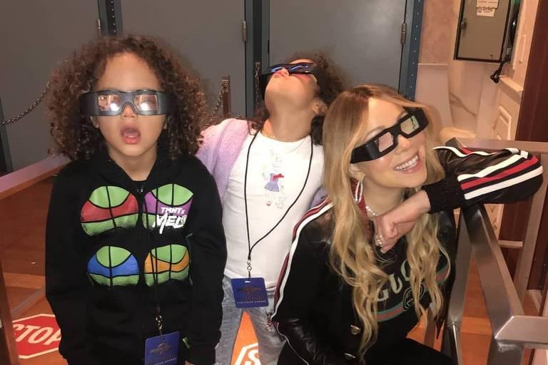 Mariah Carey com os filhos gêmeos, Moroccan e Monroe
