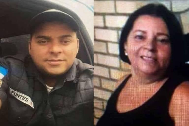 O sargento da PM Rio Douglas Fontes Caluete com sua mãe, Maria Fontes
