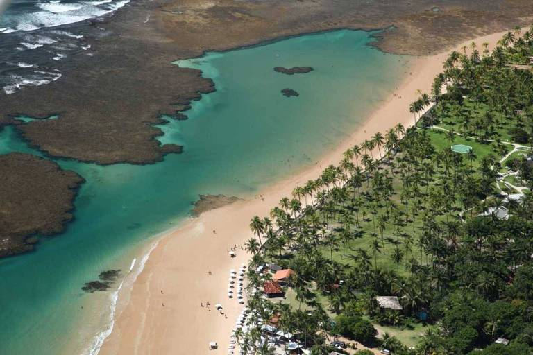 Vista aérea de Taipu de Fora, na Bahia