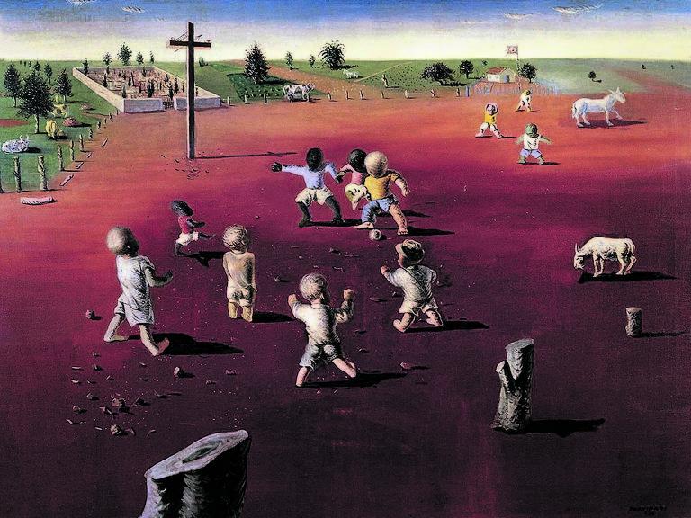 crianças jogando bola em quadro