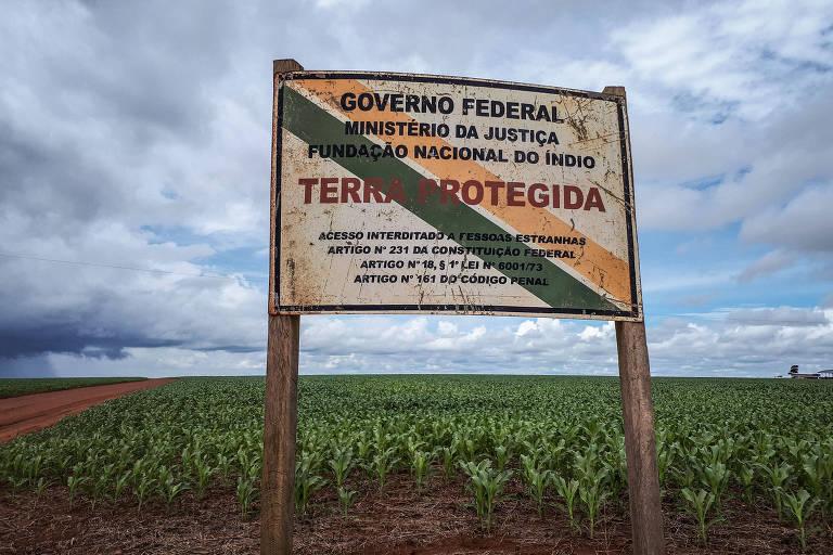Placa com informações sobre a terra indígena Uirapuru, dos índios parecis, em Mato Grosso, com pés de milho, ao fundo.