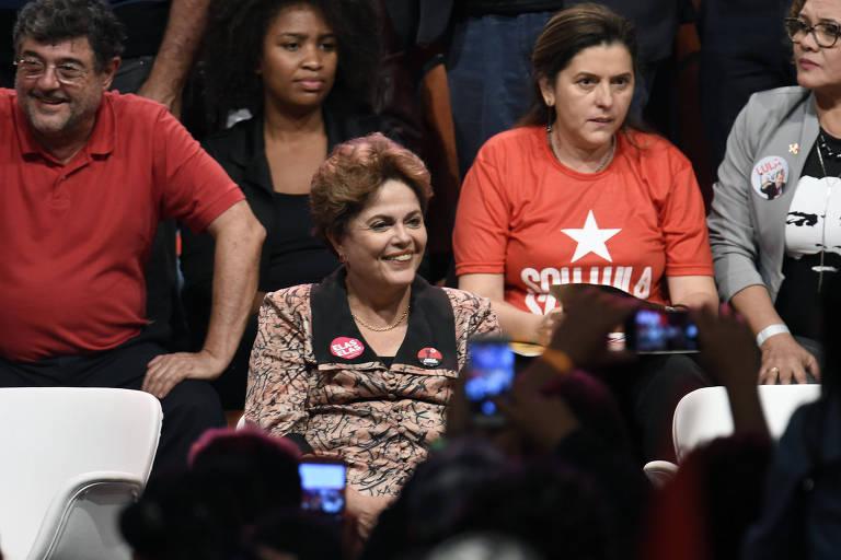 Dilma Rousseff em ato de lançamento da pré-candidatura de Lula