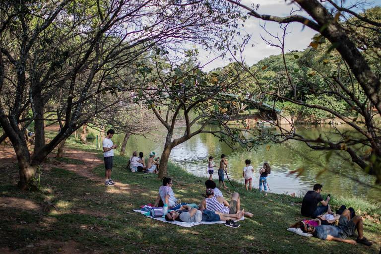 Pessoas descansam no parque do Ibirapuera