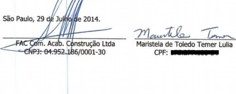 Contrato de prestação de serviço assinado por Maristela Temer, filha do presidente, com a empresa Qualifac