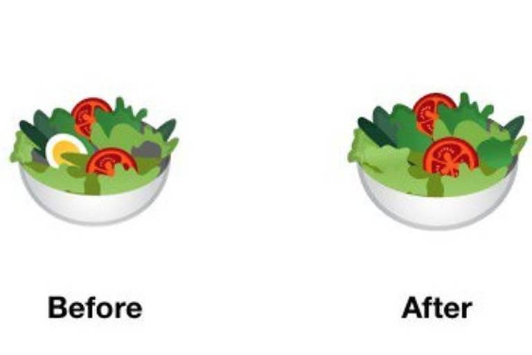 Emoji de salada com ovo, alface, tomate e pepino e, do outro lado, salada com alface, tomate e pepino
