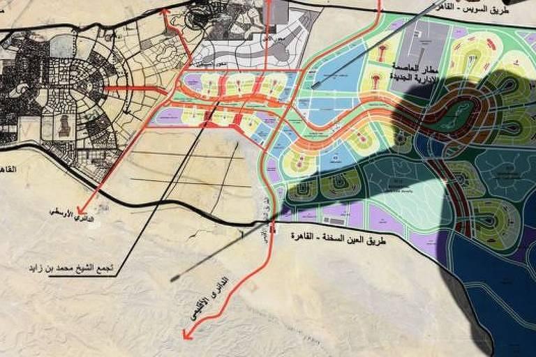 Mapa da capital que o Egito está construindo no meio do deserto