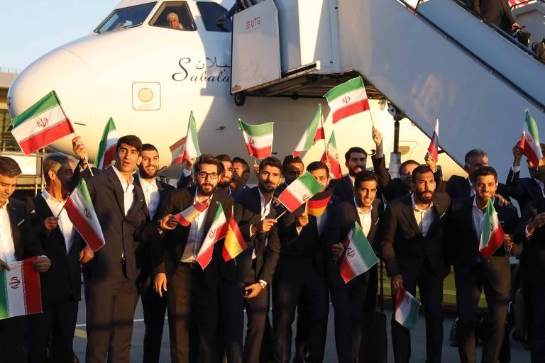 Chegada da seleção iraniana na Rússia para a disputa da Copa do Mundo