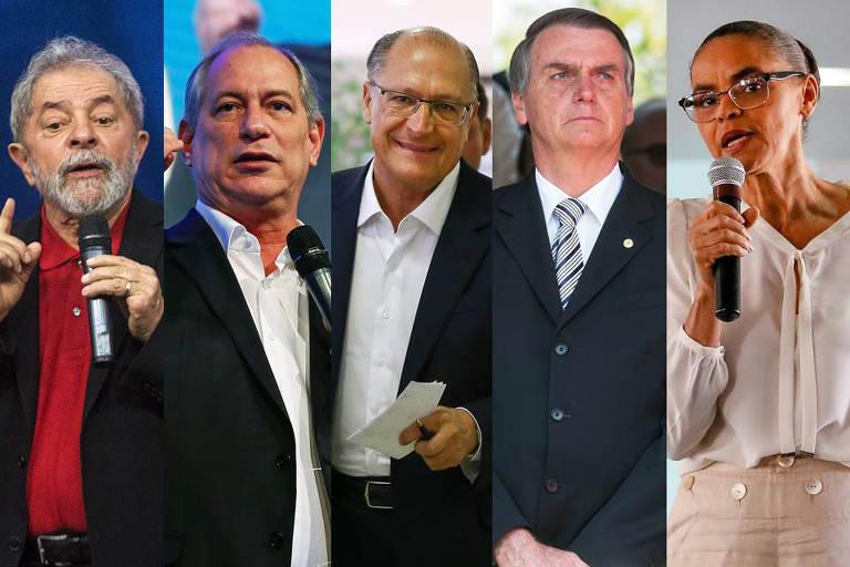 Lula, Ciro Gomes, Geraldo Alckmin, Jair Bolsonaro e Marina Silva, pré-candidatos à presidência da República