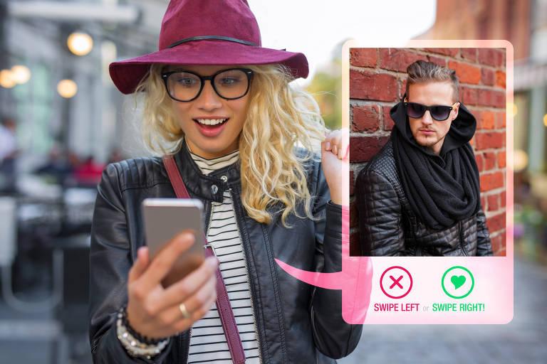 Mulher usa site de relacionamentos no celular