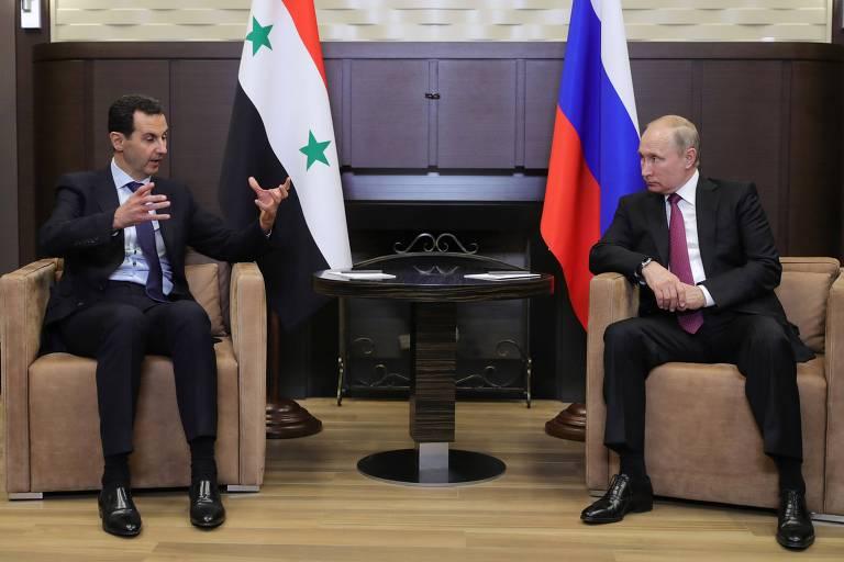 O ditador sírio, Bashar al-Assad, em encontro em maio com o presidente russo, Vladimir Putin, em Sochi