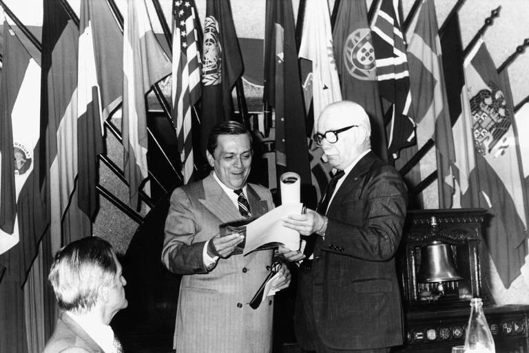 João Agripino Doria, á esquerda, em evento no Rotary Club de SP