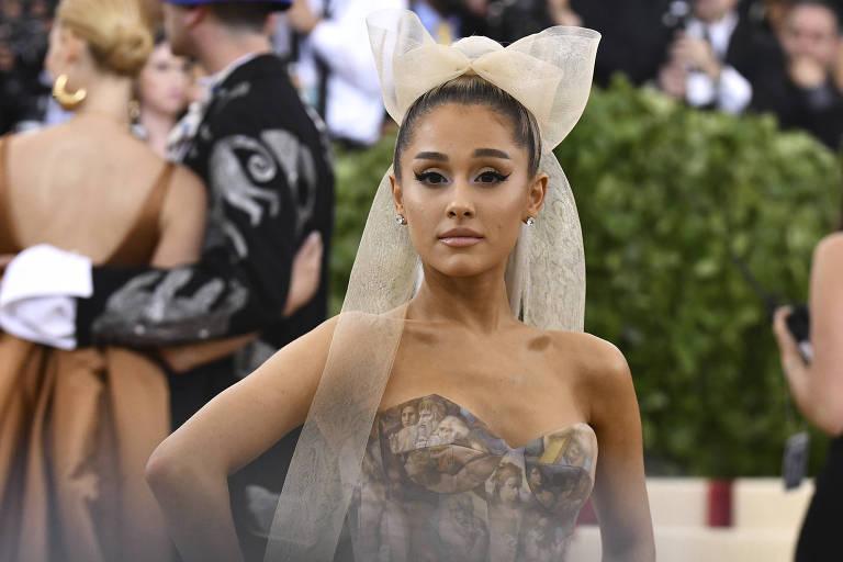 Ariana Grande durante evento em Nova York