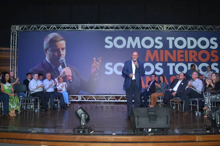 O pré-candidato do PSDB à Presidência, Geraldo Alckmin, participa de evento em Uberaba (MG) que lançou Marcos Montes (PSD) como vice de Anastasia (PSDB) na disputa pelo governo de Minas Gerais