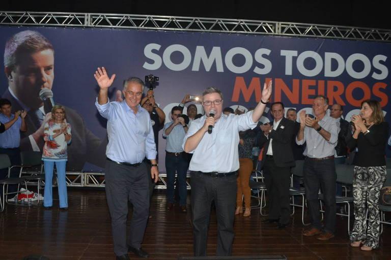 Deputado federal Marcos Montes (PSD) é anunciado como vice de Antonio Anastasia (PSDB) na disputa pelo governo de Minas Gerais, durante evento em Uberaba (MG)
