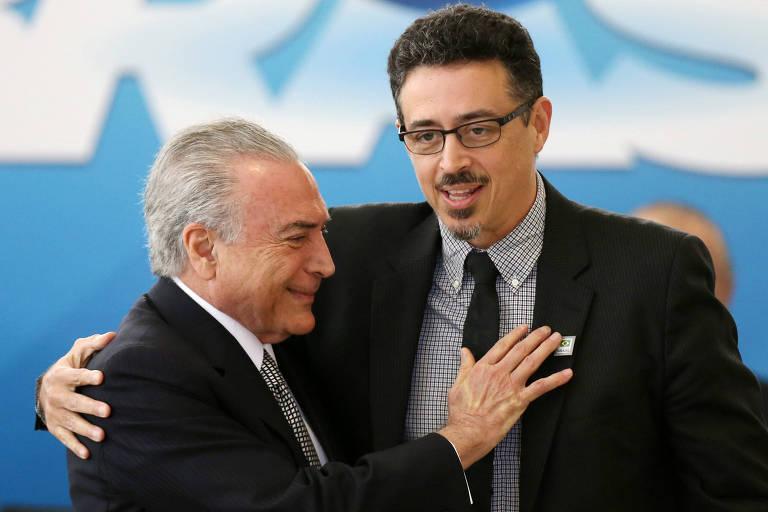 O presidente Michel Temer e Sérgio Sá Leitão durante a posse do ministro, no ano passado