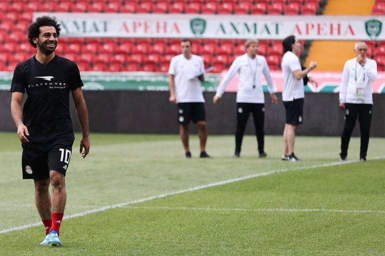 O atacante Mohamed Salah durante treinamento da seleção do Egito