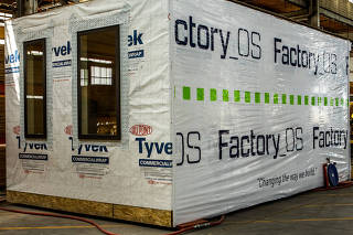 A completed studio unit awaits shipment at Factory OS in Vallejo, Calif.