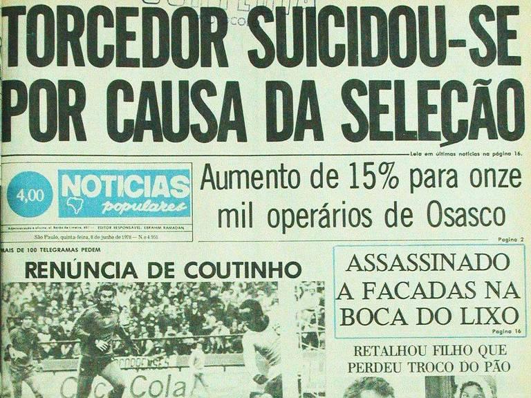 """Manchete publicada no """"Notícias Populares"""" em 8 de junho de 1978 destaca suicídio de torcedor"""