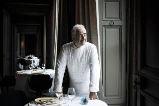 Guy Savoy at the site of his new restaurant in Paris.