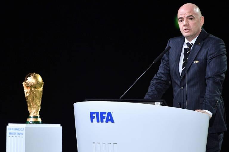 Presidente da Fifa Gianni Infantino durante o 68º Congresso da Fifa, em Moscou, nesta terça-feira (13)