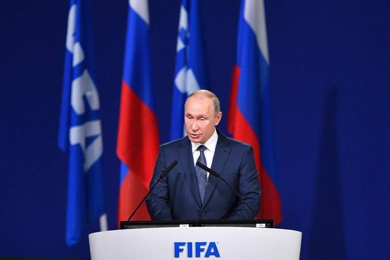 Presidente russo Vladimir Putin durante 68º Congresso da Fifa, em Moscou, nesta quarta-feira (13)