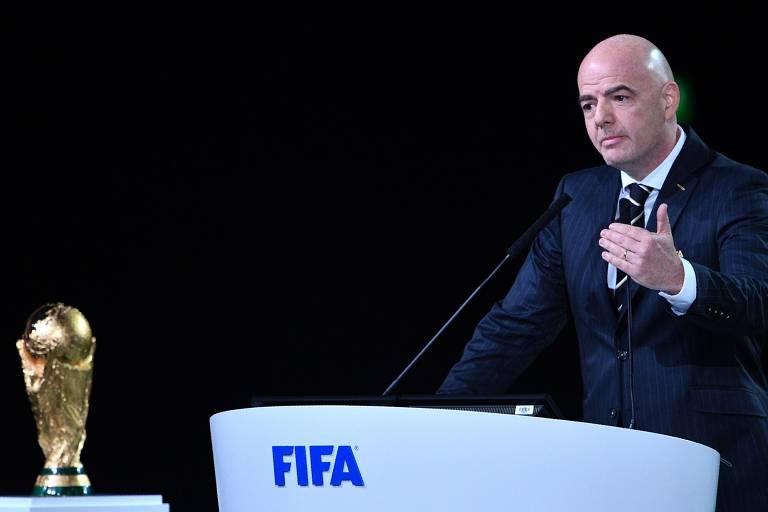 Presidente da Fifa Gianni Infantino durante 68º Congresso da Fifa, em Moscou, nesta quarta-feira (13)