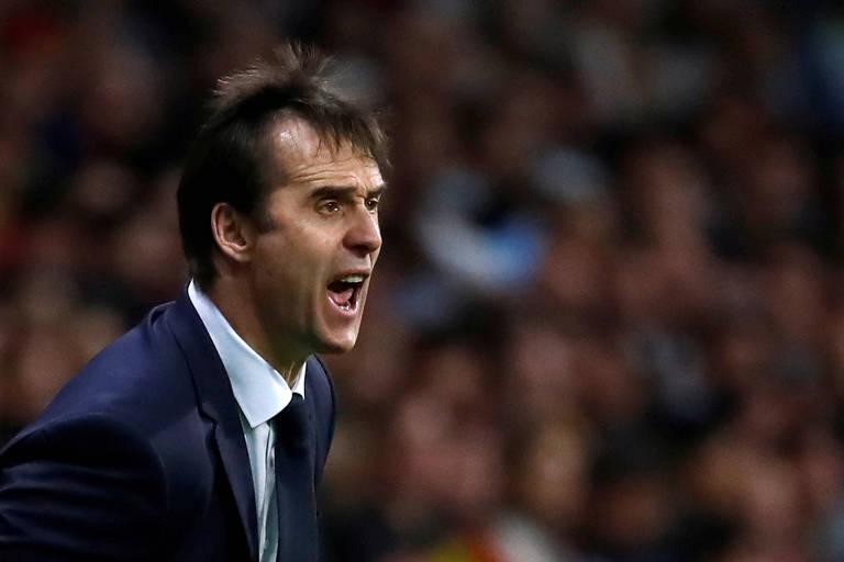 O ex-treinador da Espanha Julen Lopetegui em amistoso contra a Argentina