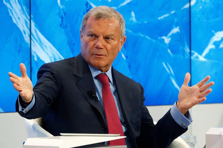 Martin Sorrell, ex-presidente da WPP, fala durante o Fórum Econômico Mundial