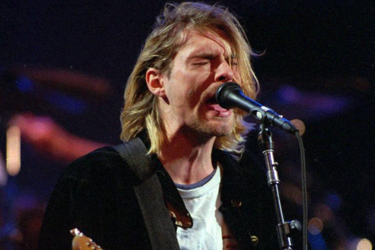 Kurt Cobain em apresentação em Seattle em 1993