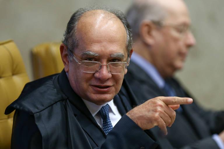 Ministro Gilmar Mendes, relator do caso, em sessão que discute a condução coercitiva nesta quarta (13)
