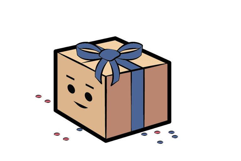 Desenho de uma caixa com um laço azul e um rosto neutro --nem feliz, nem triste--, usada pela Folha para ilustrar a caixinha de surpresas