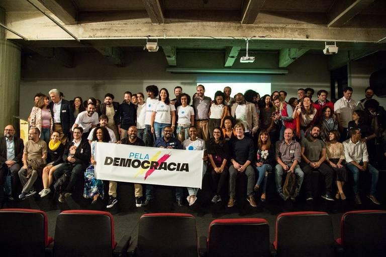 Representantes de movimentos e partidos no lançamento do Pacto pela Democracia, no auditório do Pavilhão da Bienal, no Ibirapuera, em São Paulo, em 13/06/2018.