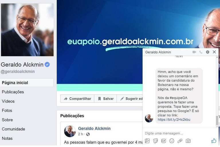Reprodução de perfil do Facebook de Geraldo Alckmin