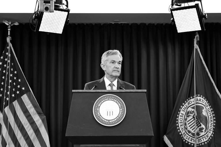 Presidente do Fed, Jerome Powell, durante entrevista em Washington