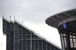 One of two new temporary stands erected for World Cup matches at the Tsentralnyi Stadium in Ekaterinburg, Russia.