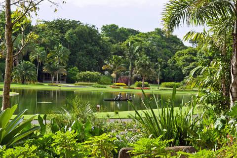 Jardim do lago do Jardim Botânico Plantarum (JBP), de Nova Odessa, no interior de São Paulo