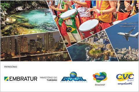 imagens com logos do seminário Turismo e a internacionalização do brasil