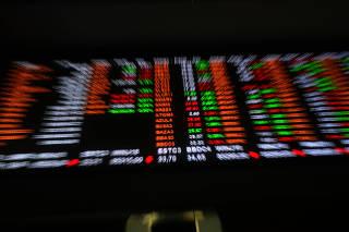 Painel com números do mercado financeiro interior da sede da B3