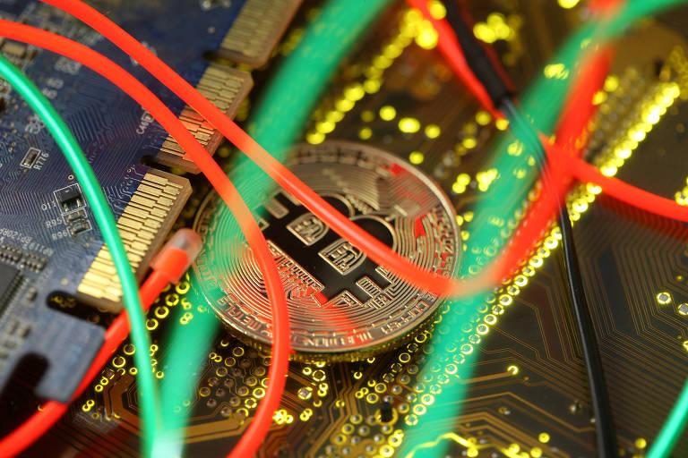 Símbolo do Bitcoin, a precursora das criptomoedas.