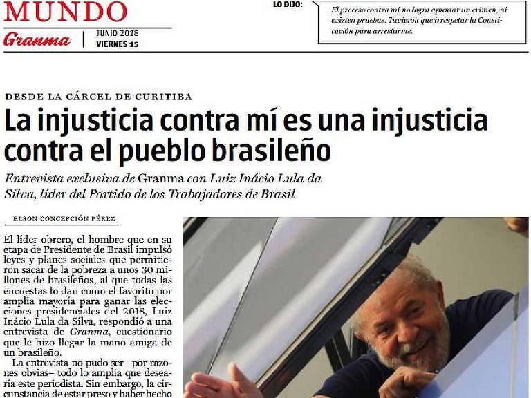 No cubano Granma, a primeira entrevista de Lula depois de ser preso Reprodução