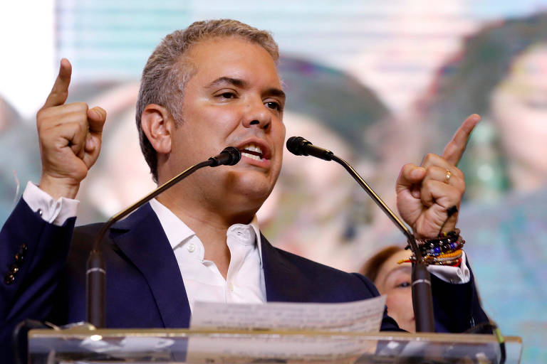 O presidente eleito da Colômbia, Iván Duque, em seu discurso de vitória