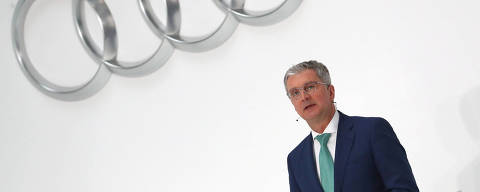 FILE PHOTO: Audi CEO Rupert Stadler speaks during the company's annual news conference in Ingolstadt, Germany March 15, 2018. REUTERS/Michael Dalder/File Photo ORG XMIT: FW1