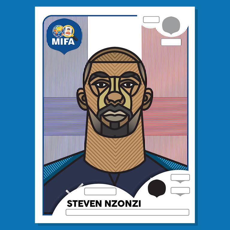 Figurinha do jogador francês Steven N'Zonzi, ilustrada por Michael Louth para The MIFA Project