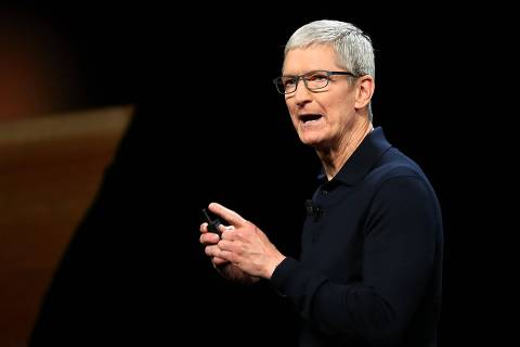 SAN JOSE, CA - JUNE 04: Apple CEO Tim Cook speaks during the 2018 Apple Worldwide Developer Conference (WWDC) at the San Jose Convention Center on June 4, 2018 in San Jose, California. The WWDC runs through June 8.   Justin Sullivan/Getty Images/AFP == FOR NEWSPAPERS, INTERNET, TELCOS & TELEVISION USE ONLY ==