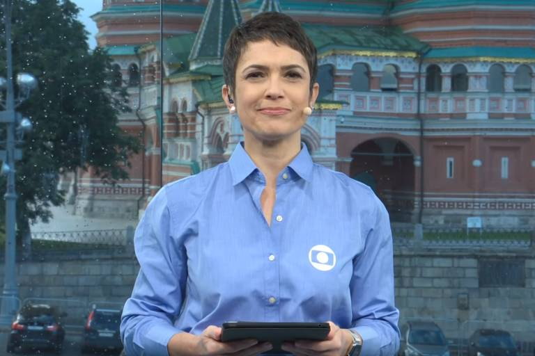 Sandra Annenberg durante cobertura da Copa da Rússia